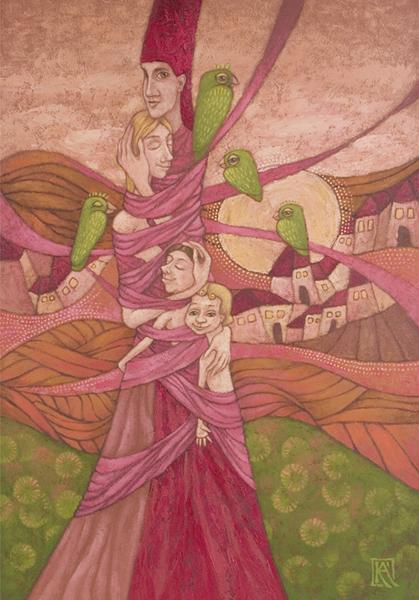 Két gyermek Kelemen Ágnes festménye